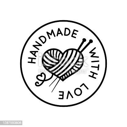 istock Handmade with love round beautiful sign vector 1287550606