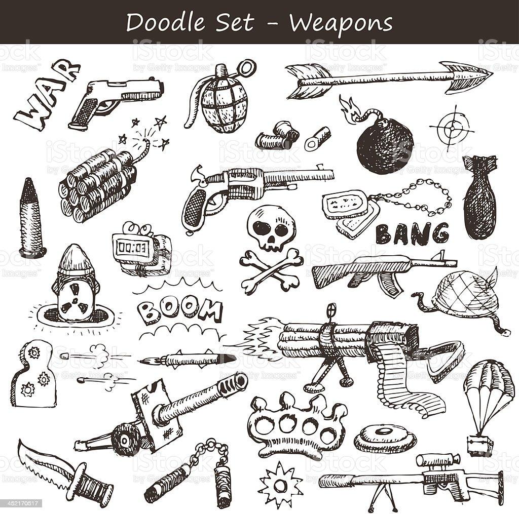 handmade work - weapons vector art illustration