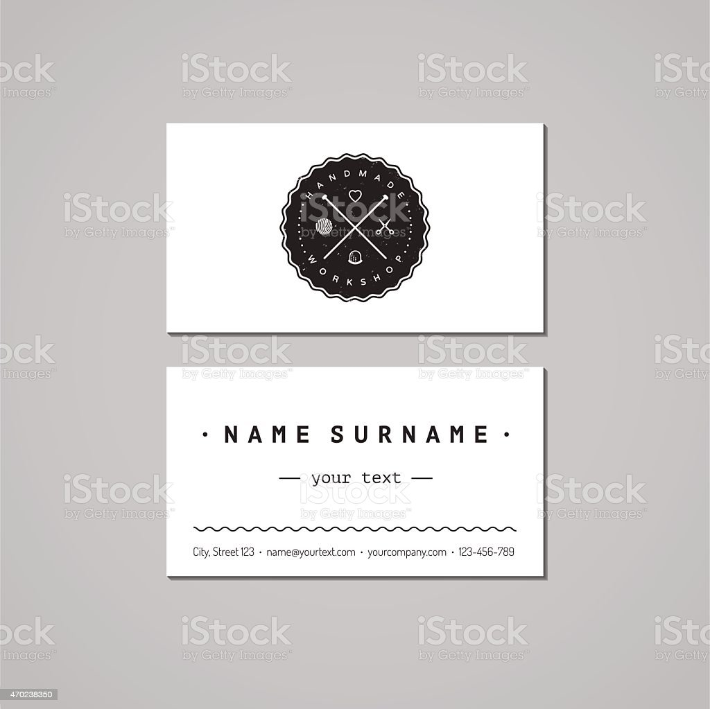 Handmade workshop business card design concept logo with knitting handmade workshop business card design concept logo with knitting needles royalty free stock vector magicingreecefo Image collections