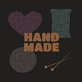 Handmade workshop cross stitching sewing and knitting vector