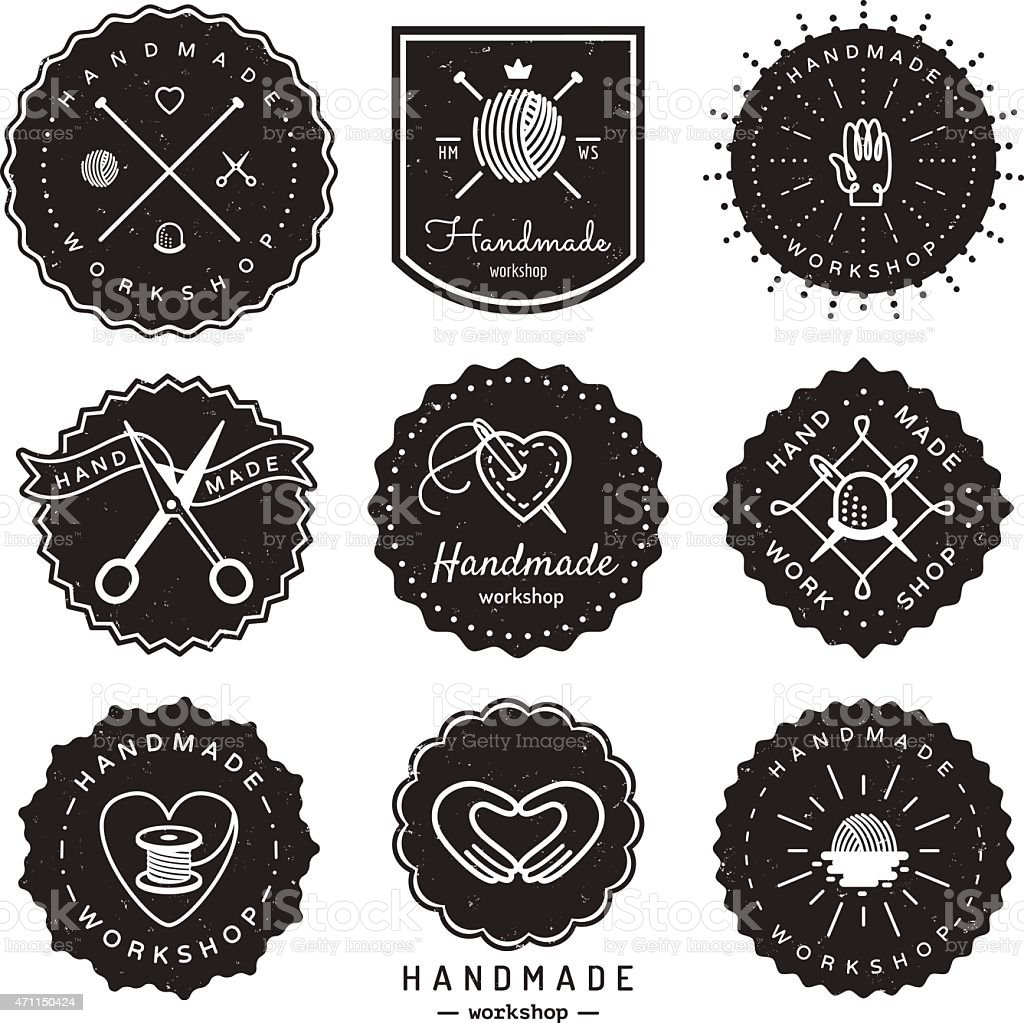 Handmade Workshop Logo Vintage Vector Set Hipster And Retro Style Royalty Free Stock