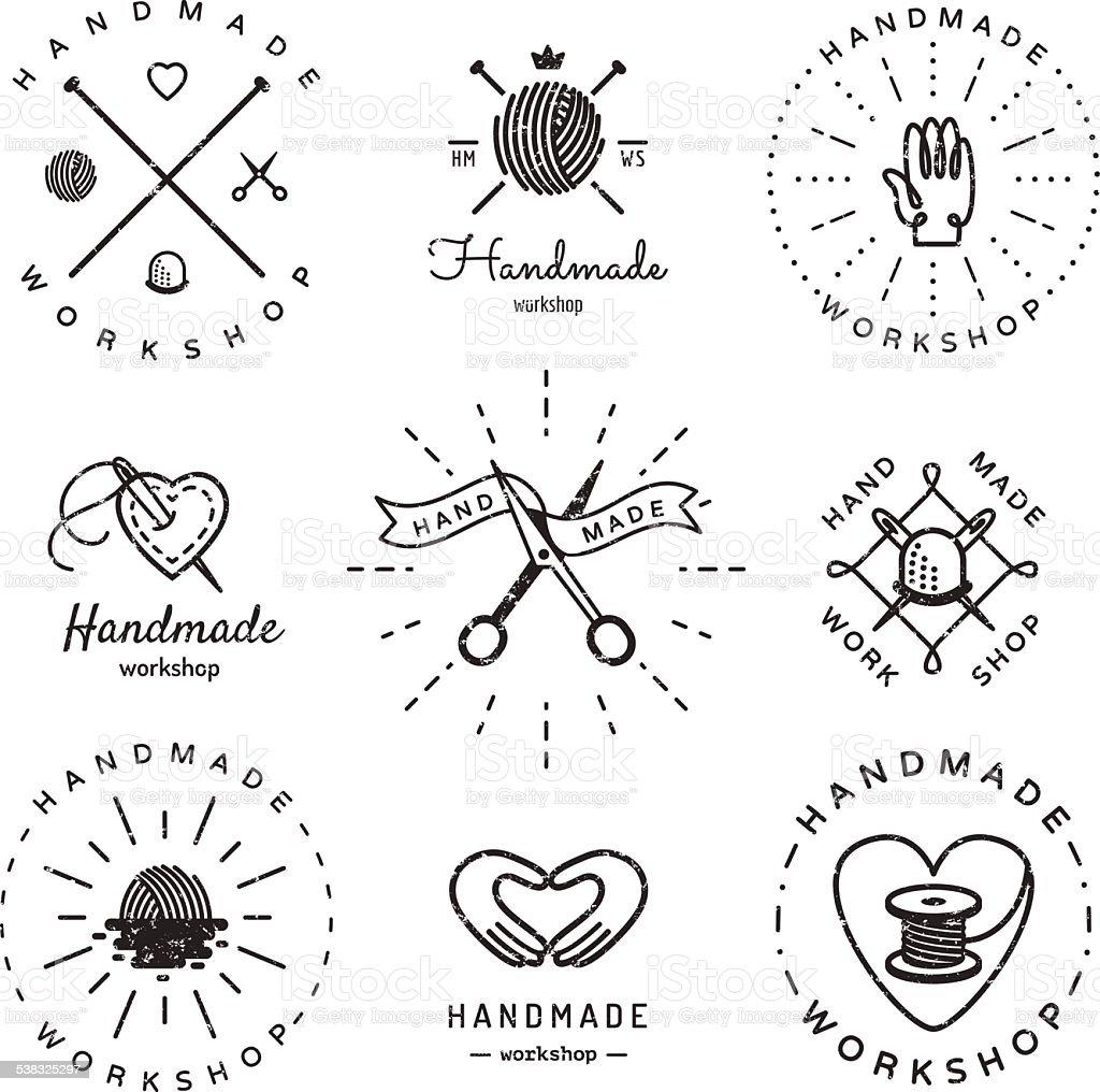 Handmade workshop logo vintage vector set. Hipster and retro style.