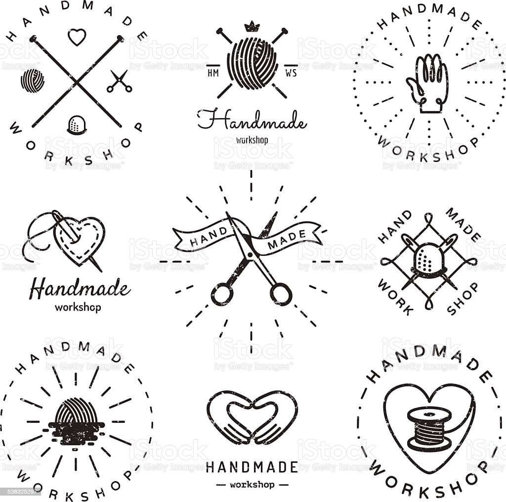 Handmade workshop logo vintage vector set. Hipster and retro style. vector art illustration