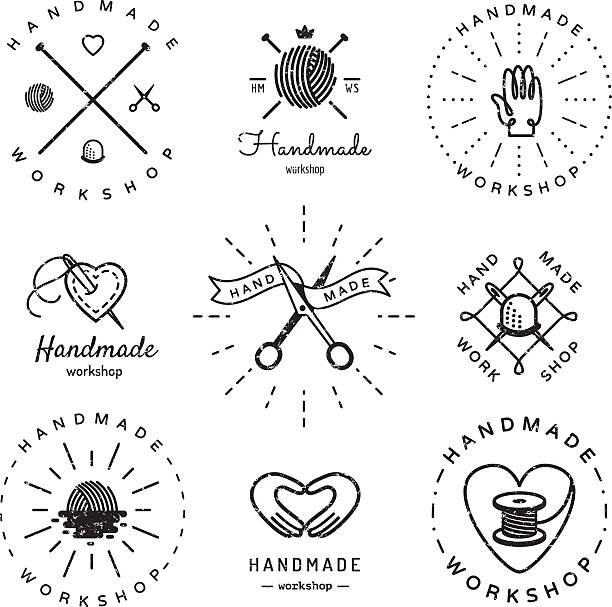 Oficina de artesanato logotipo vetor vintage conjunto. Hipster e estilo retrô. - ilustração de arte em vetor
