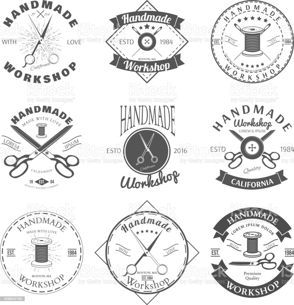Handmade workshop logo vintage vector set. Retro style. Vector vector art illustration
