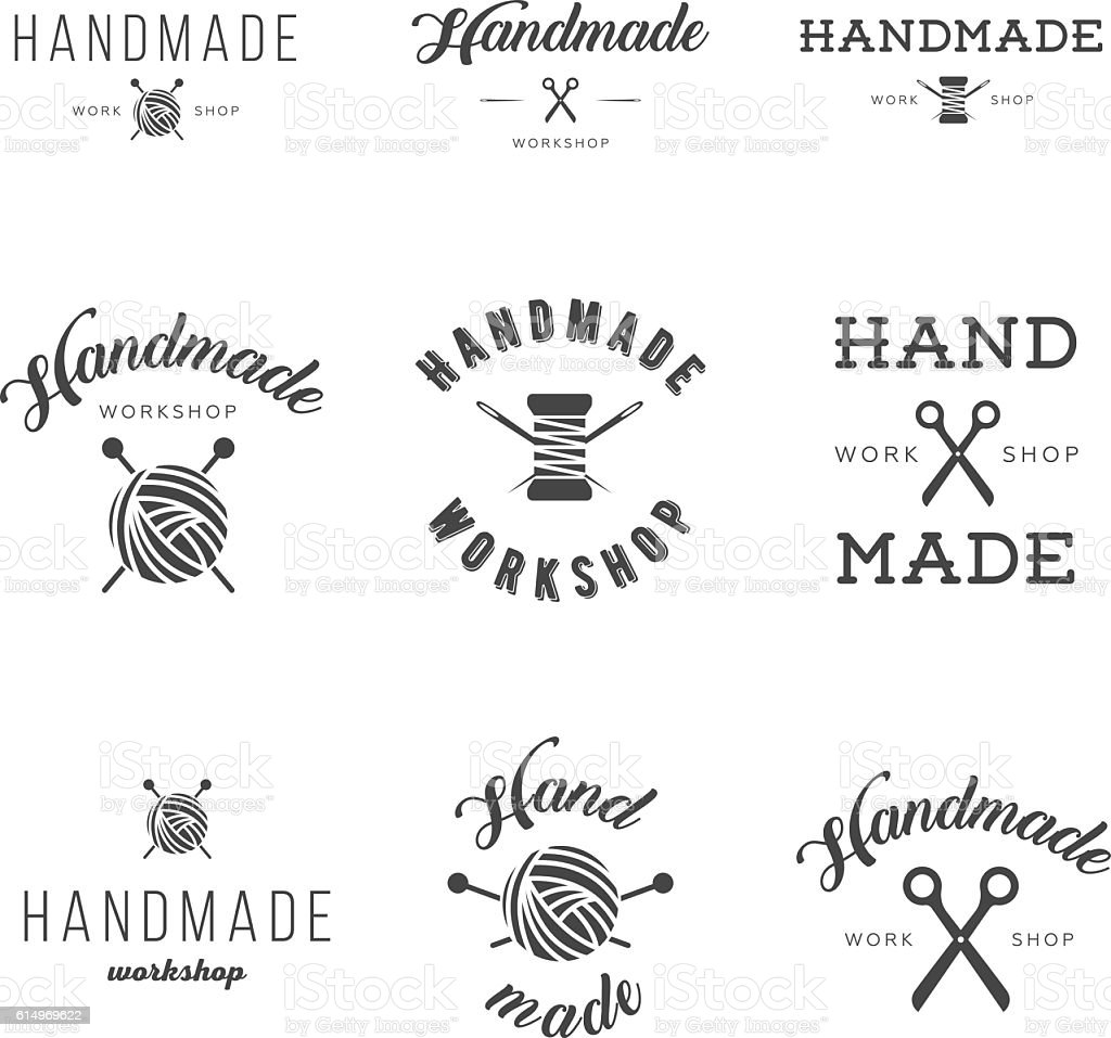 Handmade workshop logo vintage vector set. vector art illustration