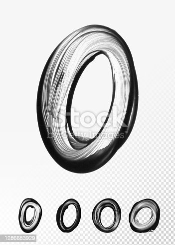 istock Hand-painted number zero painted with thick black paint on white paper with a finger - abstract original blurry dirty vector illustration with clearly visible finger movement and irregular messy uneven paint application with transparences 1286683929