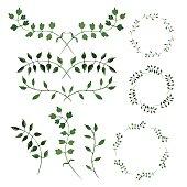 Hand-painted watercolor design elements. Floral motifs. Frame set.
