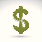 Hand-painted yellow dollar icon isolated on white background