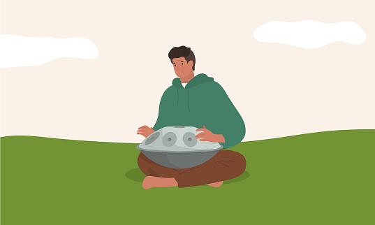 Handpan artist. Musician playing pand pan music. Vector