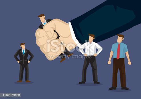 Business professional picked by a giant hand. Creative cartoon vector illustration on human resource concept.
