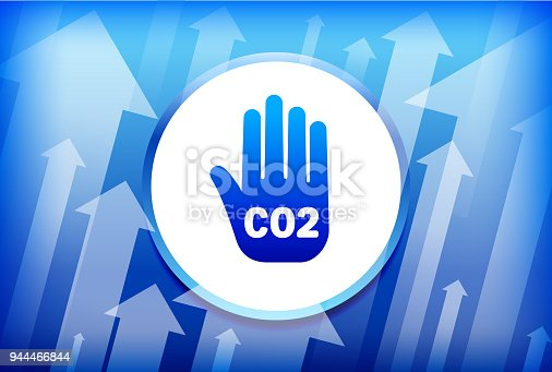 CO2 Handprint Blue Up Arrows Background. The main icon depicted in this illustration is in the center of the composition. It is rendered in a bright blue color and has a slight glow and gradient. The vector icons is set against a white button with a blue trim. The background of the image has multiple arrows moving up. This is a conceptual representation of the progress and positive change. The background is blue in color.