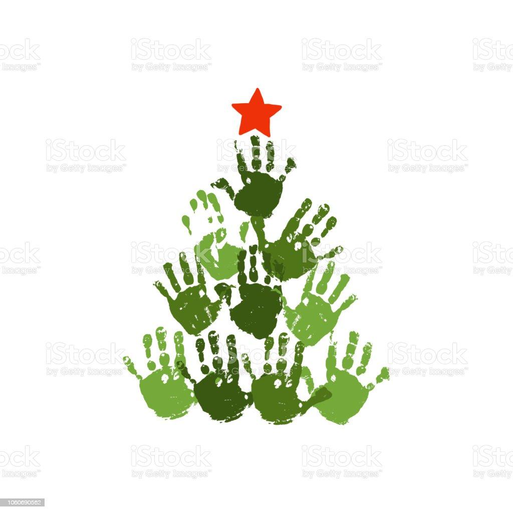 Handabdruck Weihnachtsbaum Mit Roten Handgezeichneten Stern Aquarell
