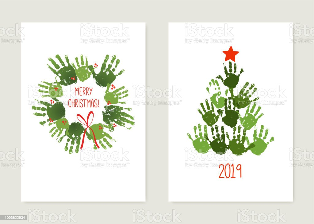 Empreinte De La Main Les Arbre De Noël Avec étoile Rouge