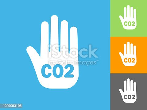 CO2 Handprint  Flat Icon on Blue Background. The icon is depicted on Blue Background. There are three more background color variations included in this file. The icon is rendered in white color and the background is blue.