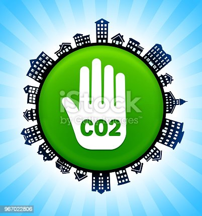 CO2 Handprint  on Rural Cityscape Skyline Background. The button is in the center of the illustration. a detailed 100% vector rural cityscape skyline is placed around the circumference of the button and includes various houses, single family homes, residential condominium and other suburb buildings. There is a blue sky background with a star burst glow rendered behind the buildings. The image is ideal for displaying rural suburban life concepts and ideas.
