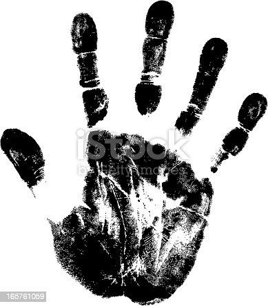 track of vector black handprint.