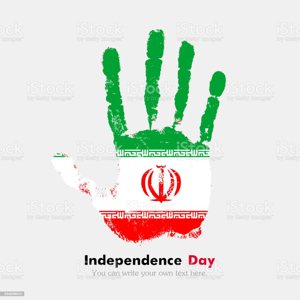 Handprint with the flag of iran in grunge style stock vector art handprint with the flag of iran in grunge style royalty free handprint with the flag buycottarizona Choice Image