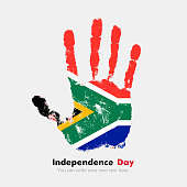 Hand print, which bears the Flag of South Africa. Independence Day. Grunge style. Grungy hand print with the flag. Hand print and five fingers. Used as an icon, card, greeting, printed materials.