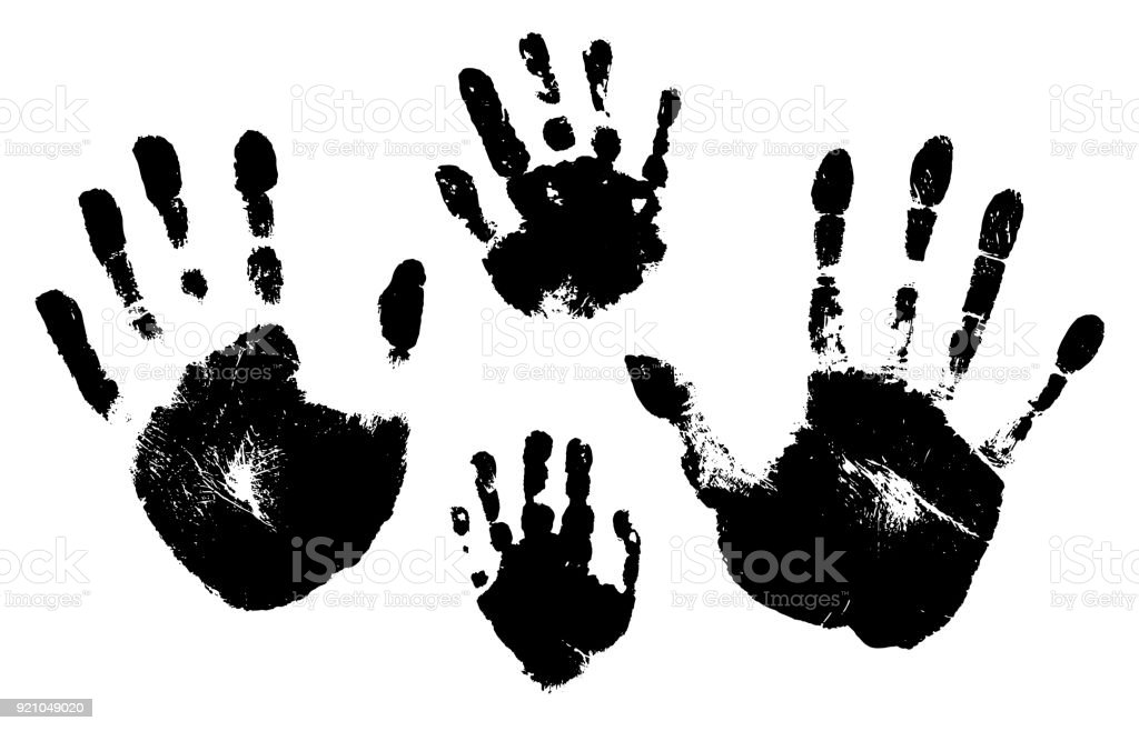 Handprints of a man, a woman, a child. Vector silhouette on white background vector art illustration