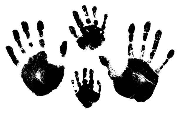 handprints of a man, a woman, a child. vector silhouette on white background - dłoń stock illustrations