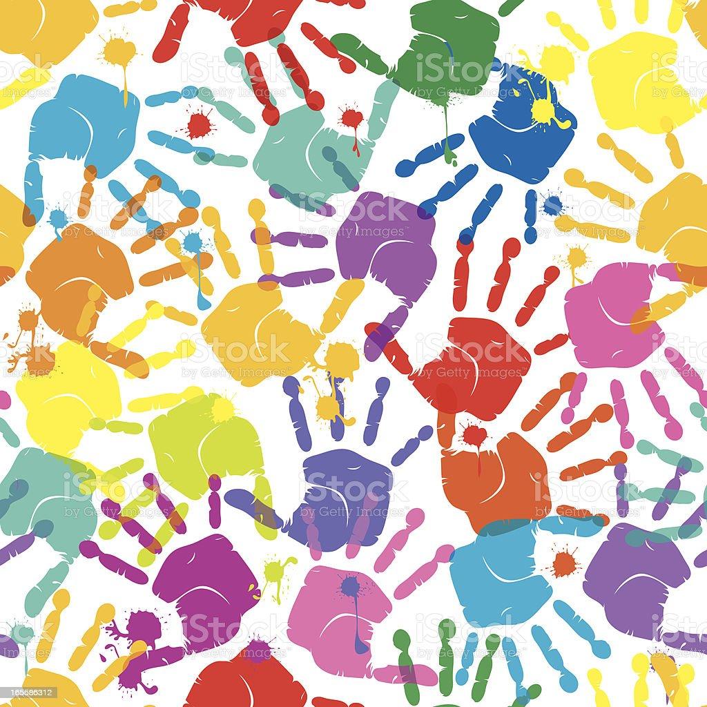 Handprints Seamless Pattern royalty-free stock vector art