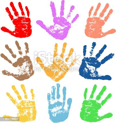 tracing of vector multi colors of handprints with ink.