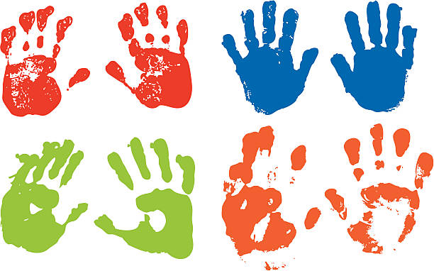 handprints - handabdruck stock-grafiken, -clipart, -cartoons und -symbole