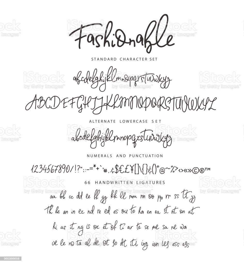 Handrawn vector alphabet. Letter for script font. vector art illustration