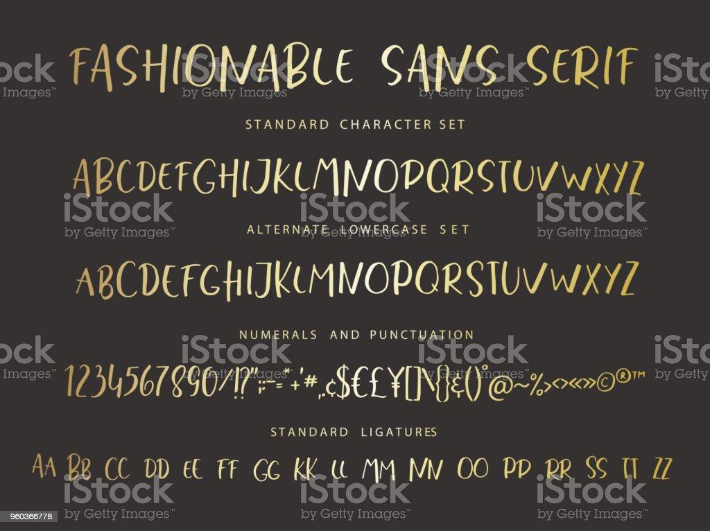 Handrawn vector alphabet. Modern gold letters for sans serif font. vector art illustration