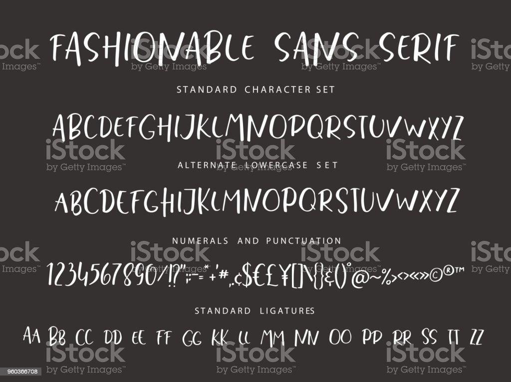 Handrawn vector alphabet. Modern letters for sans serif font. vector art illustration