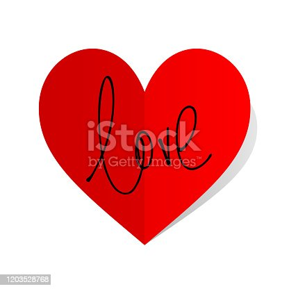 Love vector ink lettering valentine concept on folded heart shaped sticker with shadow on white background.