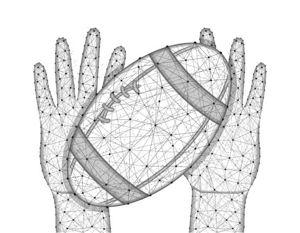 Mãos e esfera para jogar o baixo projeto poli do futebol do rugby, jogo dos esportes no estilo poligonal, prendedor ou lance a ilustração do vetor do wireframe da esfera feita dos pontos e das linhas em um fundo branco - ilustração de arte em vetor