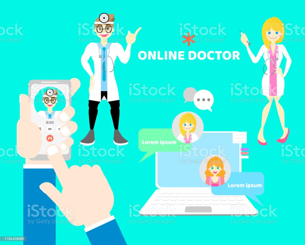 Hands And Finger Holding Mobile Phone Calling Doctor Online Health