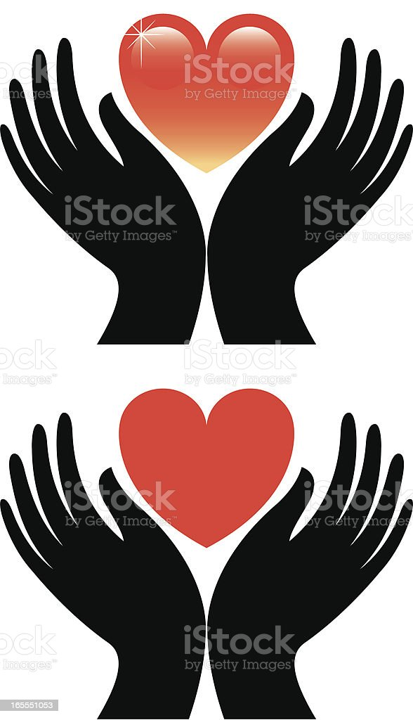 Hands and heart royalty-free stock vector art