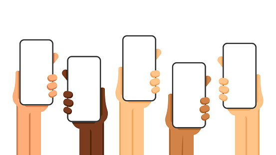 Hands and Phones. Hand holding Smartphones. Vector illustration of mobile phones in hands. Isolated on White Background. Template