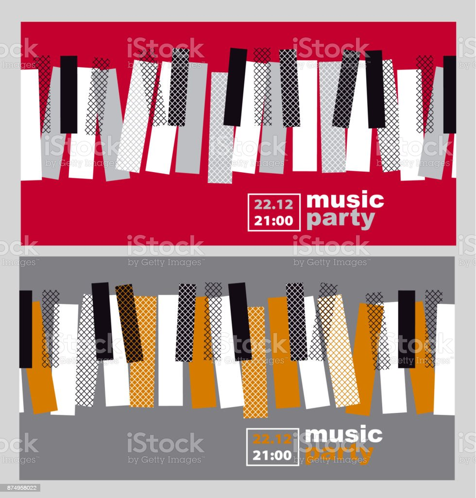 Hands And Piano Keys Vector Illustration Modern Concept Jazz Concert Poster Royalty Free