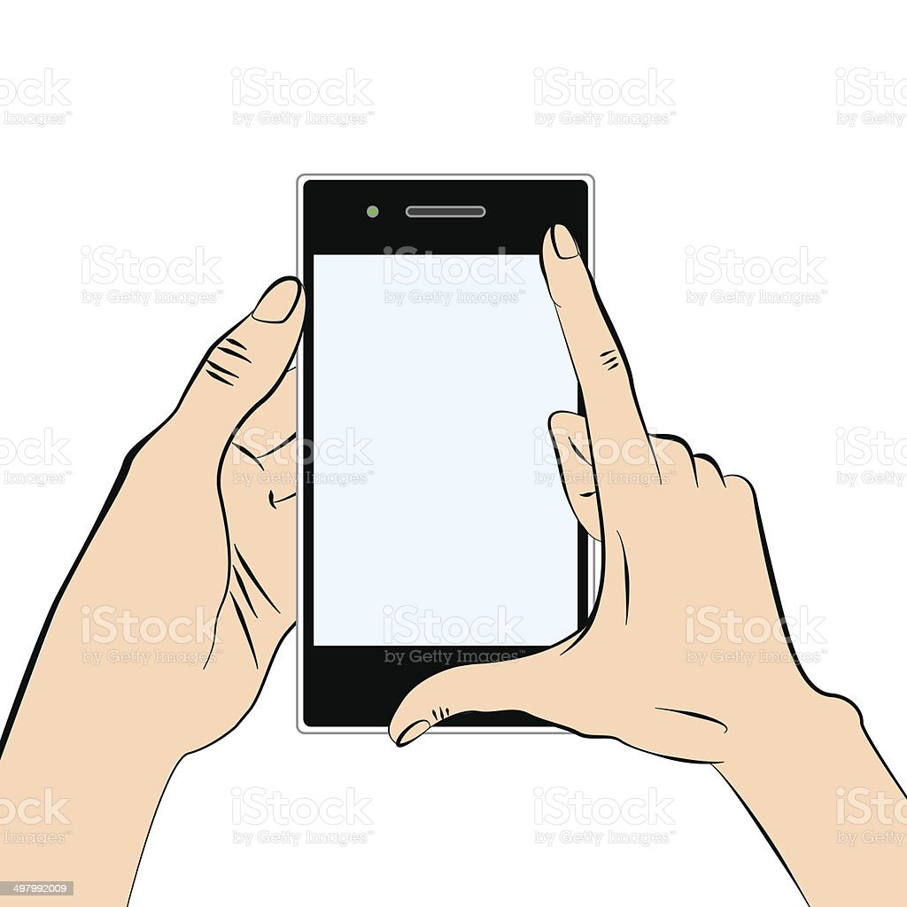 Hands and smart phone royalty-free stock vector art