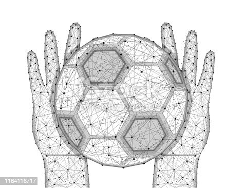 Hands and soccer ball low poly design, football, sports game in polygonal style, catch or throw the ball wireframe vector illustration made from points and lines on a white background