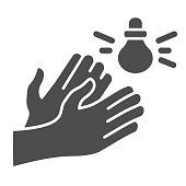 Hands and sound sensor solid icon, smart home symbol, smart technology vector sign on white background, light bulb and arms icon in glyph style for mobile concept and web. Vector graphics