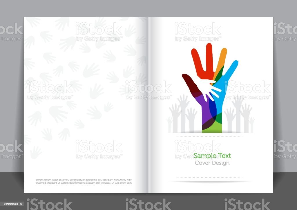 Hands and Unity Cover design vector art illustration