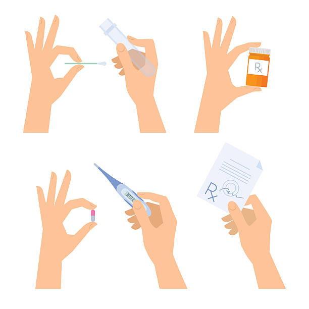 Hands are holding medical things: thermometer, pill, prescription, tablet, test-tube. vector art illustration