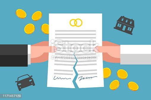 Hands of ex-wife and ex-husband are tearing prenuptial agreement, gold coins and silhouettes of house and car are around. Financial implications of divorcement. Legal side of family breakdown