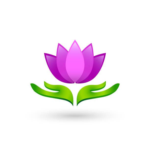 hände als blatt-konzept, die lotusblume - alpenveilchen stock-grafiken, -clipart, -cartoons und -symbole