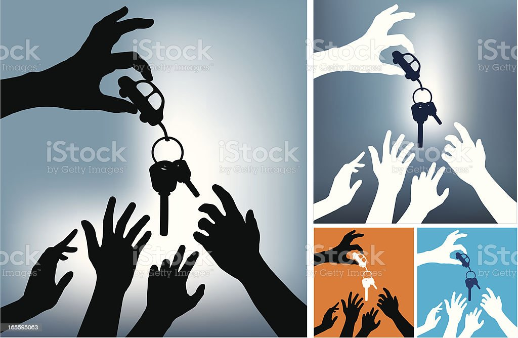 Hands asking for a car key vector art illustration