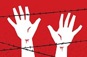 Vector illustration of hands reaching up behind barbed wire against a red background.