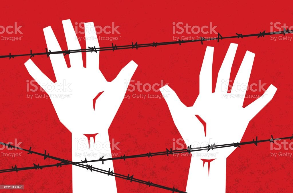 Hands Behind Barbed Wire vector art illustration