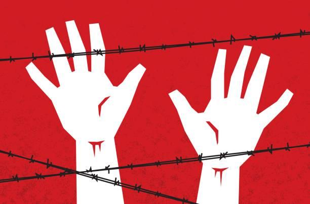 illustrations, cliparts, dessins animés et icônes de mains derrière des barbelés - prison