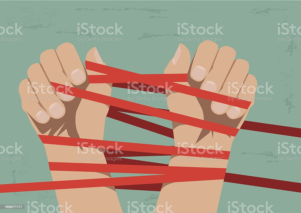 Hands Bound by Red Tape vector art illustration