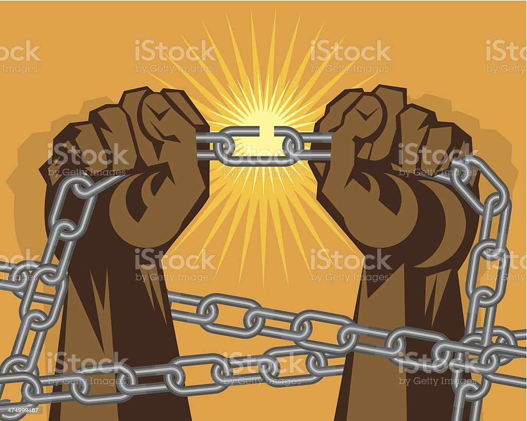 Hands Breaking Chain vector art illustration